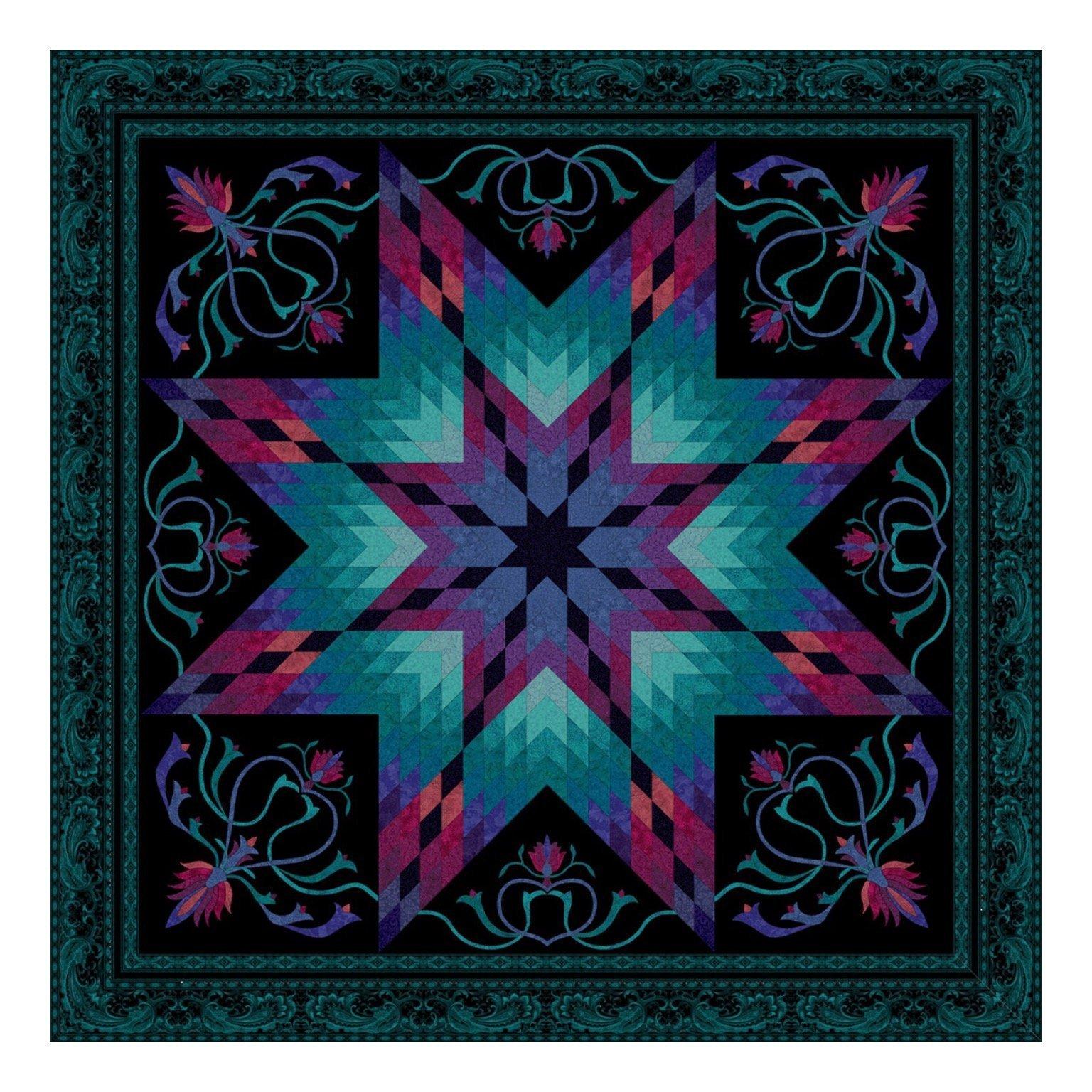 Lotus Peacock Quilt Kit by Jinny Beyer for RJR Fabrics