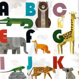 animal alphabet panel white