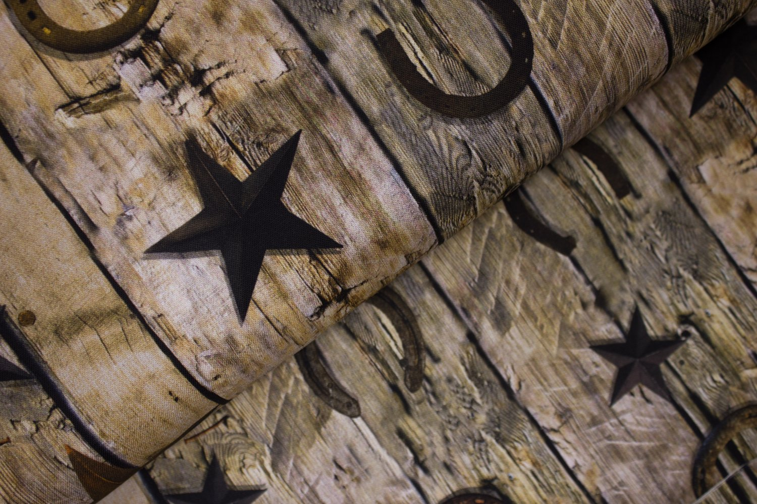 SPECIALTY FABRICS ROOM:  Wooden Boards with Rusty Horseshoes and Stars - Sun Up to Sun Down -by Hoffman California