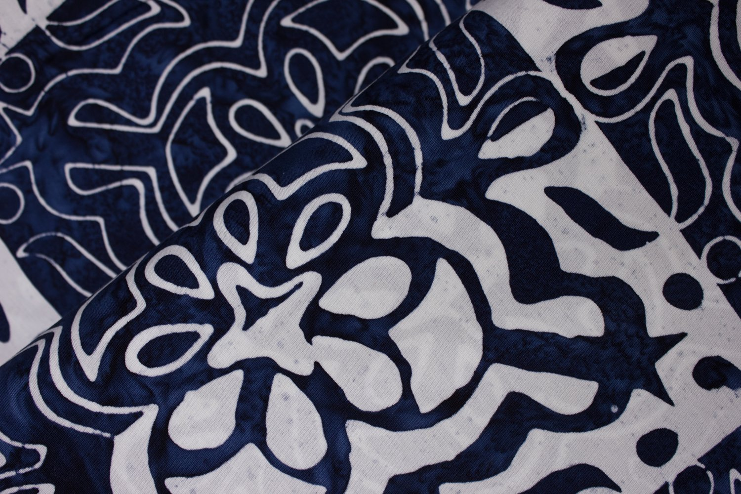 Navy and White Floral Squares:  Floral Boxes - Banyan Batiks by Northcott
