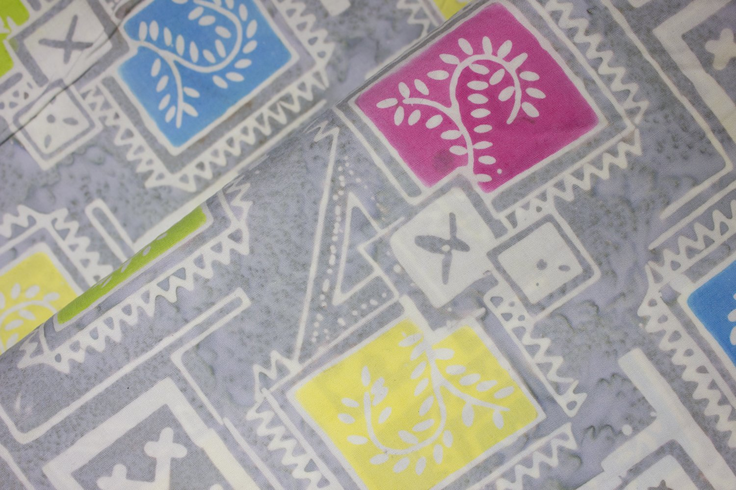 Vines Framed in Squares on Light Gray: Floral Boxes - Banyan Batiks by Northcott