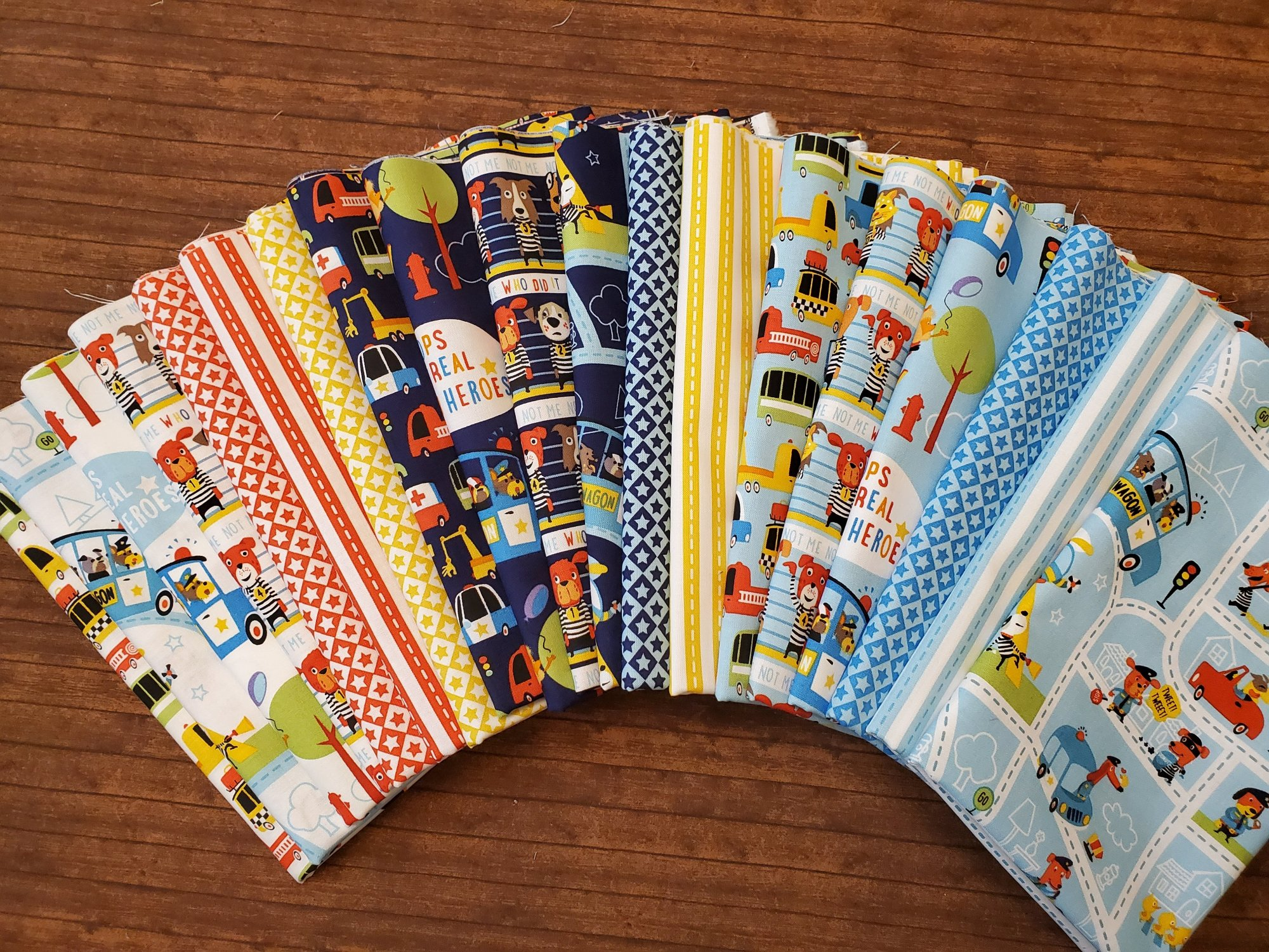 Cops and Robbers by Shawn Wallace for Riley Blake - 19 piece half yard bundle pack