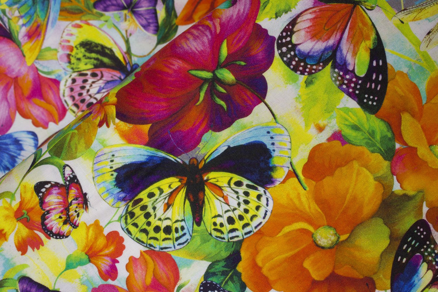 SPECIALTY FABRICS ROOM:  Butterflies and Flowers:  Fantasy by Oasis Fabrics
