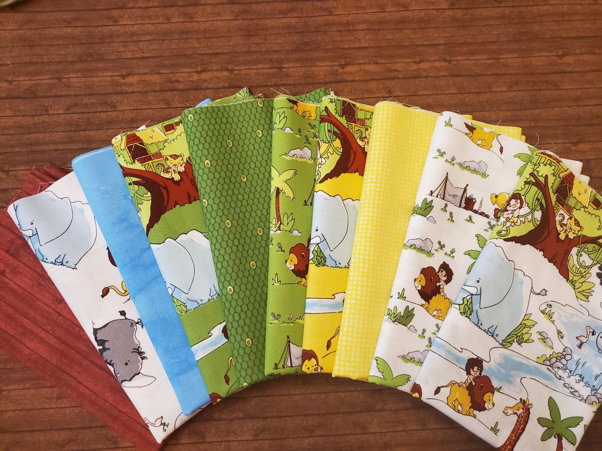 Tarzanimals - by Riley Blake - 10 piece half yards plus panel bundle pack