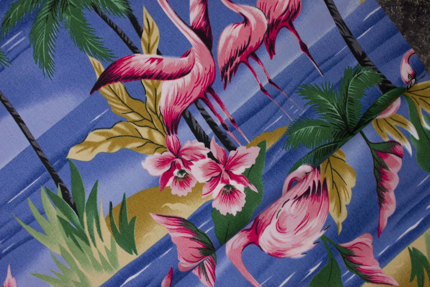 SPECIALTY FABRICS ROOM:  Flamingos in Water with Palm Trees and Pink Flowers by Hoffman