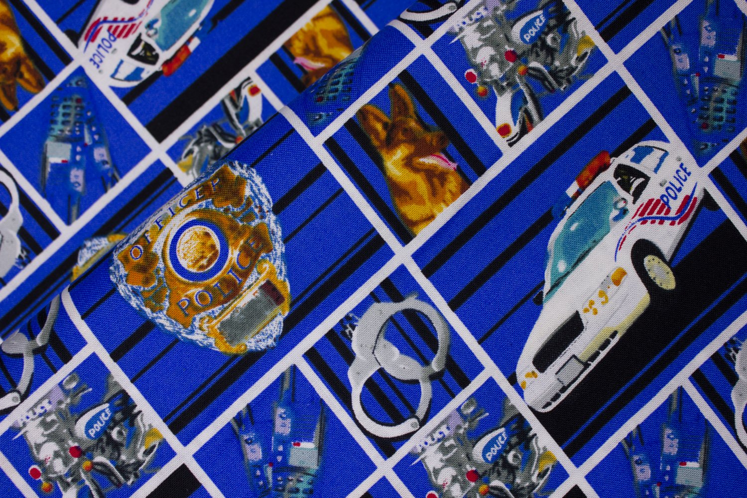 SPECIALTY FABRICS ROOM:  Police Badges and Other Symbols in Squares by Fabrique Innovations