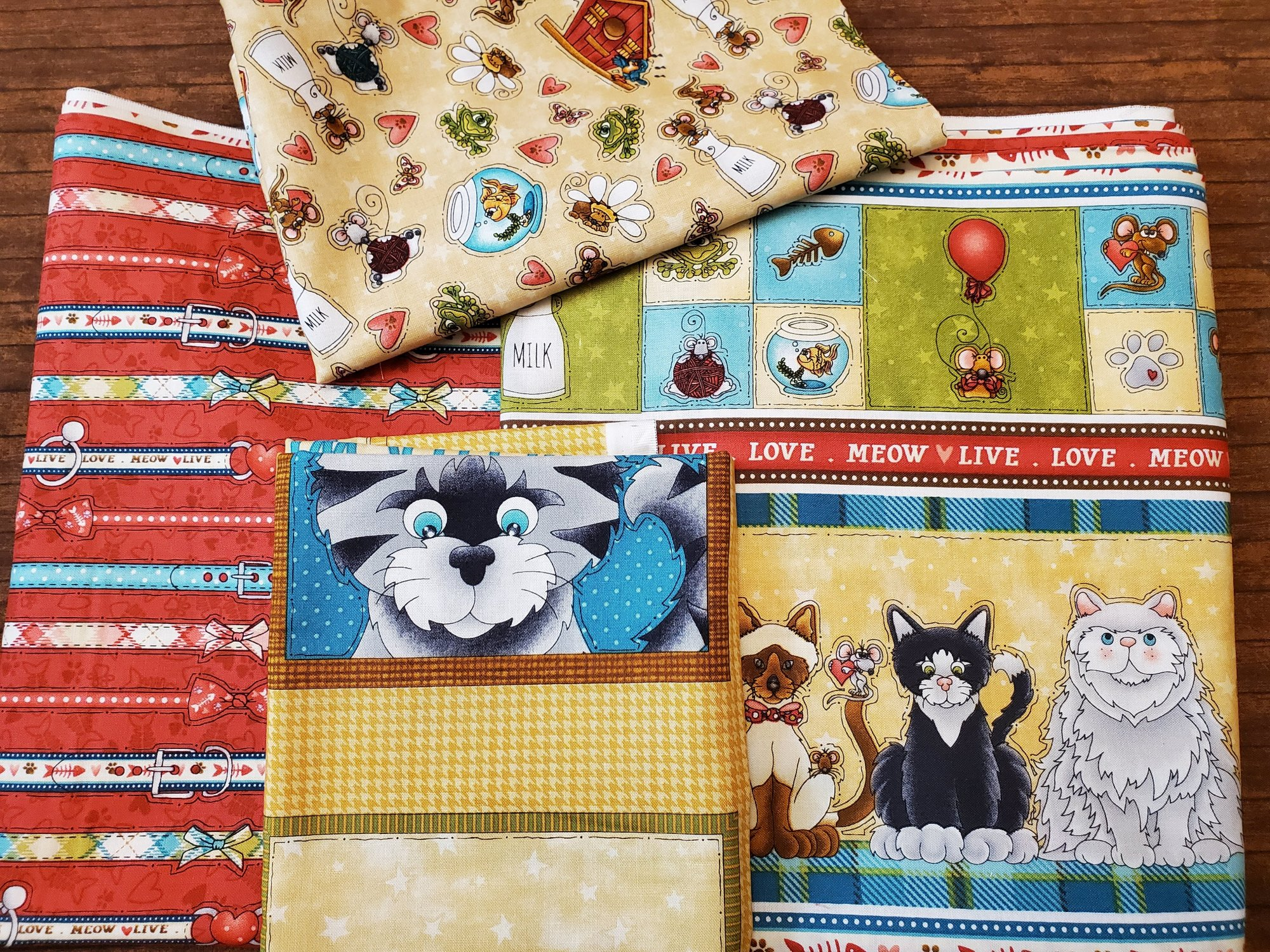 Live, Love Meow by Leanne Anderson for Henry Glass - Panel Plus TWO 2-yard Pcs plus a Half Yard Combok