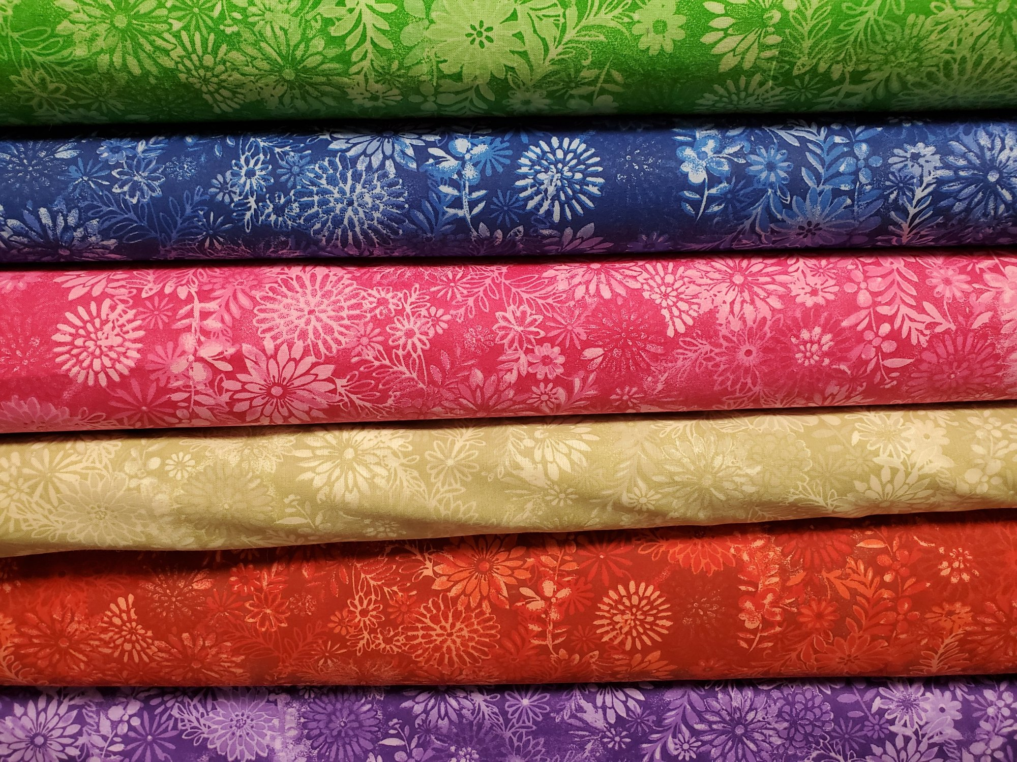 All Varieties of 108 Wide Packed Floral Backing Fabric