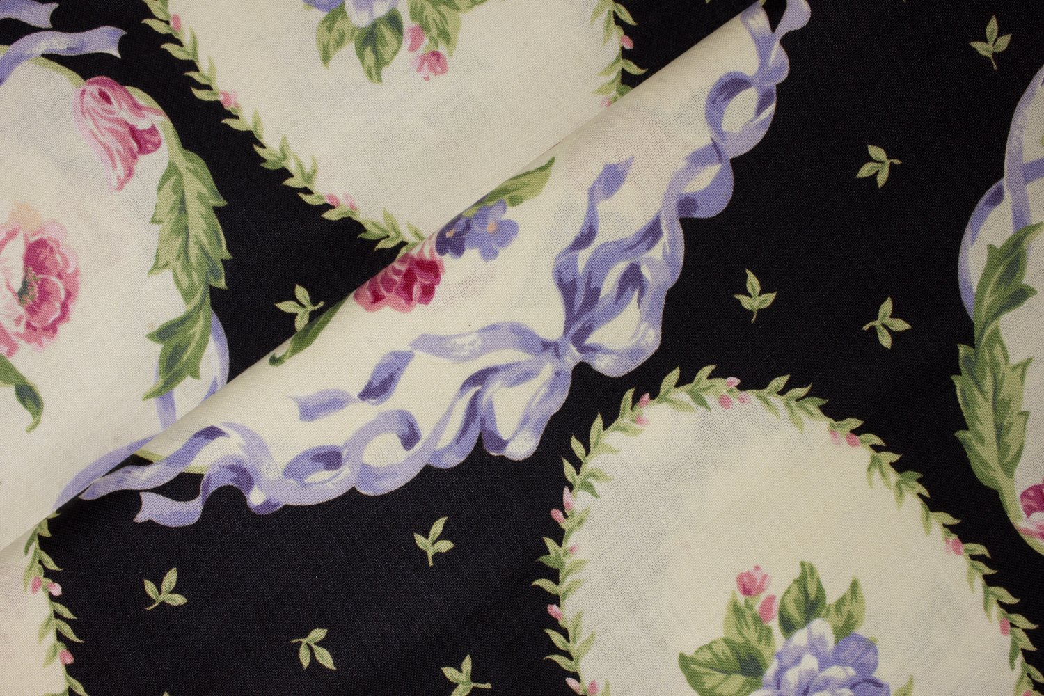 Cream Floral Ovals on Black by Marie for VIP by Cranston