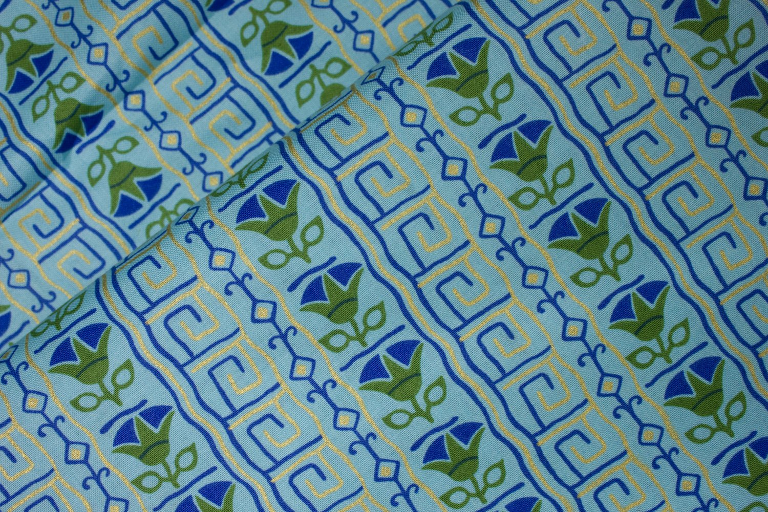 Blue and Green Floral with Metallic Accents on Blue-Green:  Egyptian - Downton Abbey by Andover