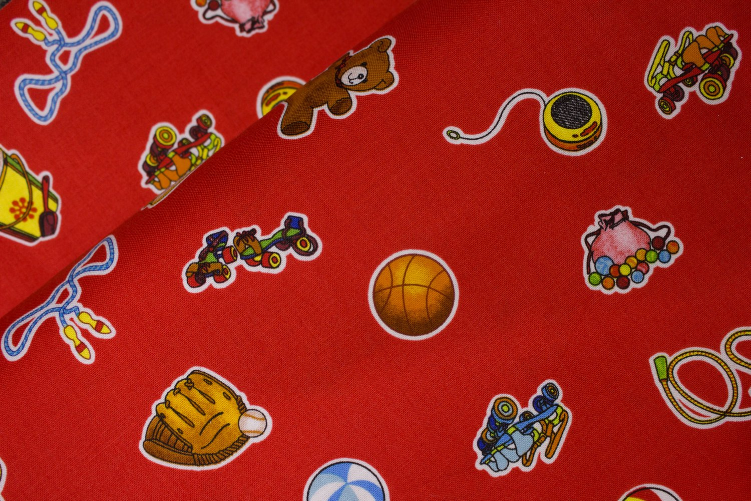 Red with Toys: Wee Play for Red Rooster Fabrics