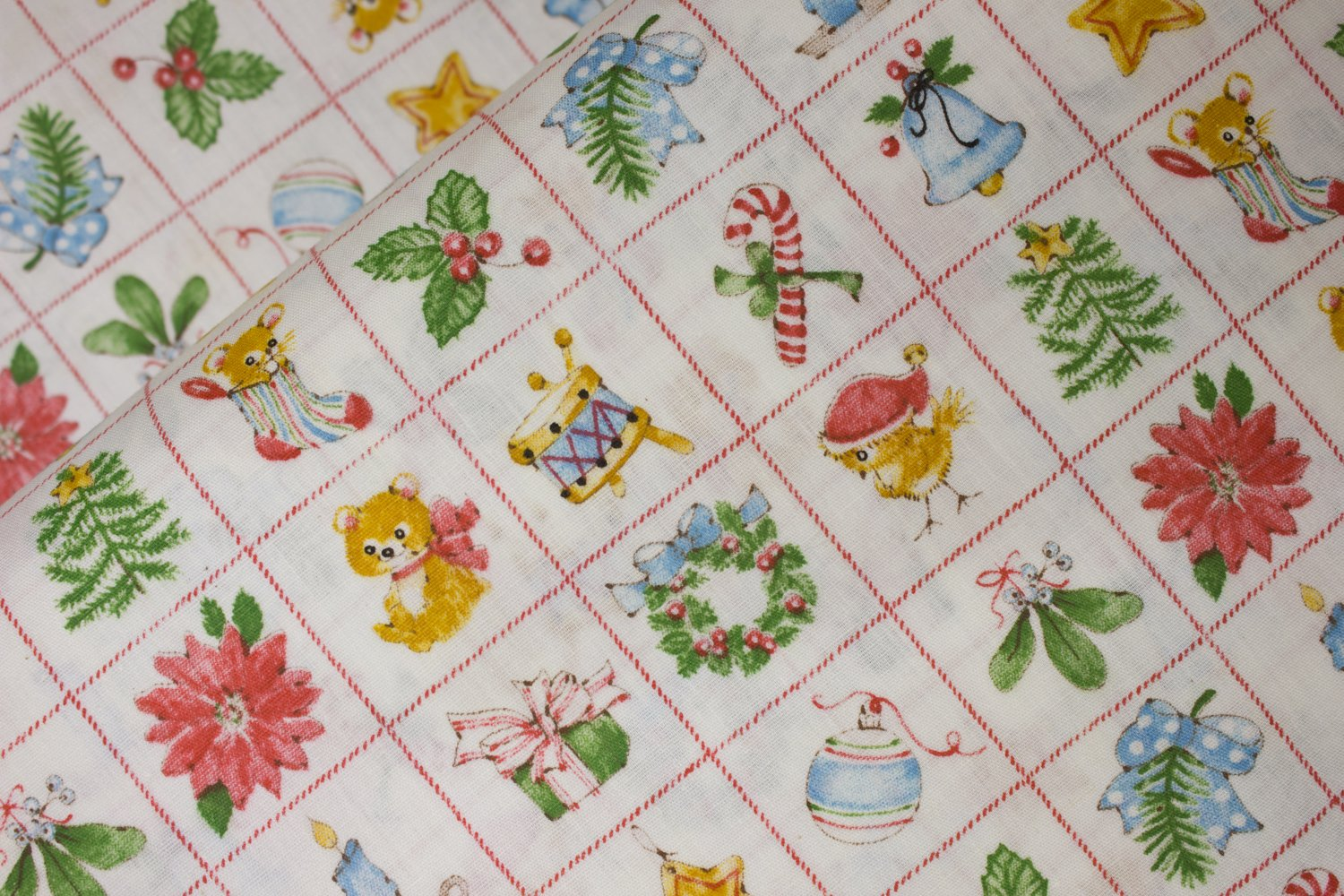 Squares with Christmas Icons:  Holly, Wreath, Tree, Poinsettia, Ornament, Star, Bell, Candy Cane, Mistletoe