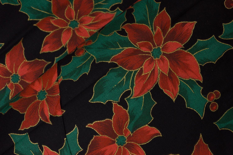 Poinsettias with Metallic Accents on Black
