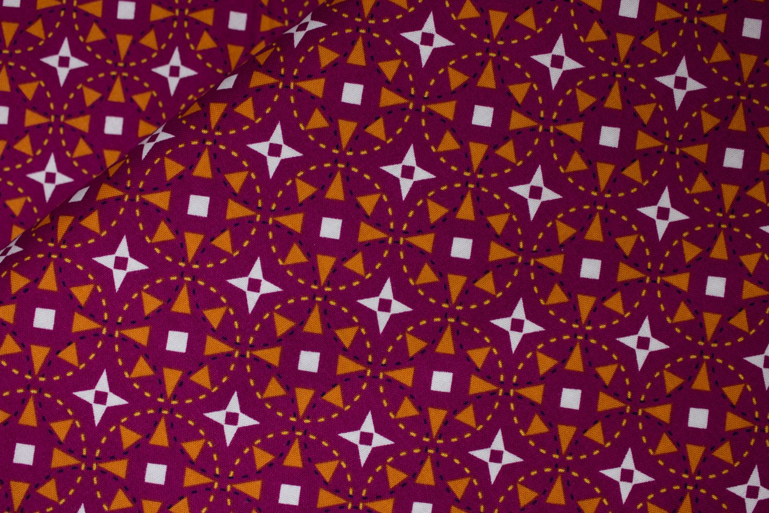 Purple with Orange and White Geometric Flowers: Juxtaposy for Riley Blake