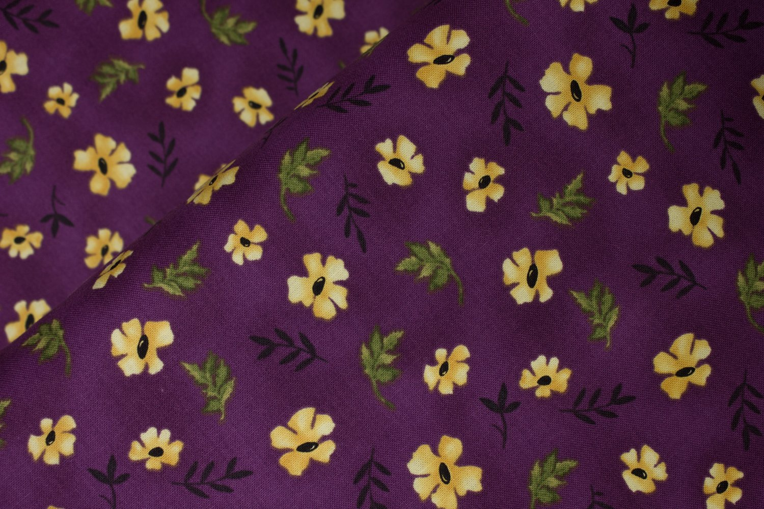 Yellow Flowers on Purple:  Amma's Garden by Gudrun Erla for Red Rooster Fabrics