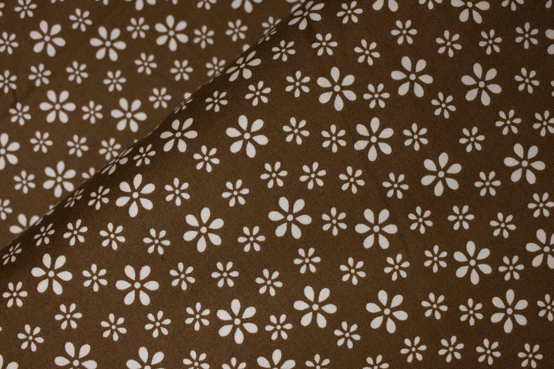 Creamy White Flowers on Brown:  Teddy Bear Basic by Windham Fabrics