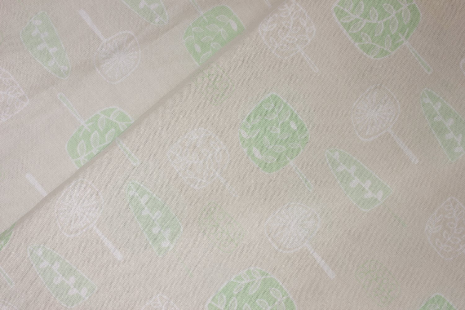 Cream Background with Green and White Flowers and Stems