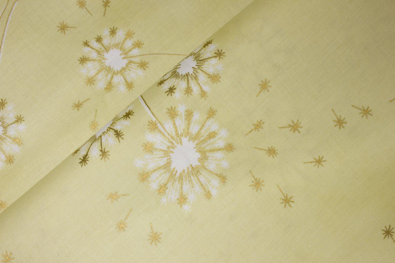 Large Golden Metallic Dandelions on Pale Yellow: Clarabelle by Hoffman International