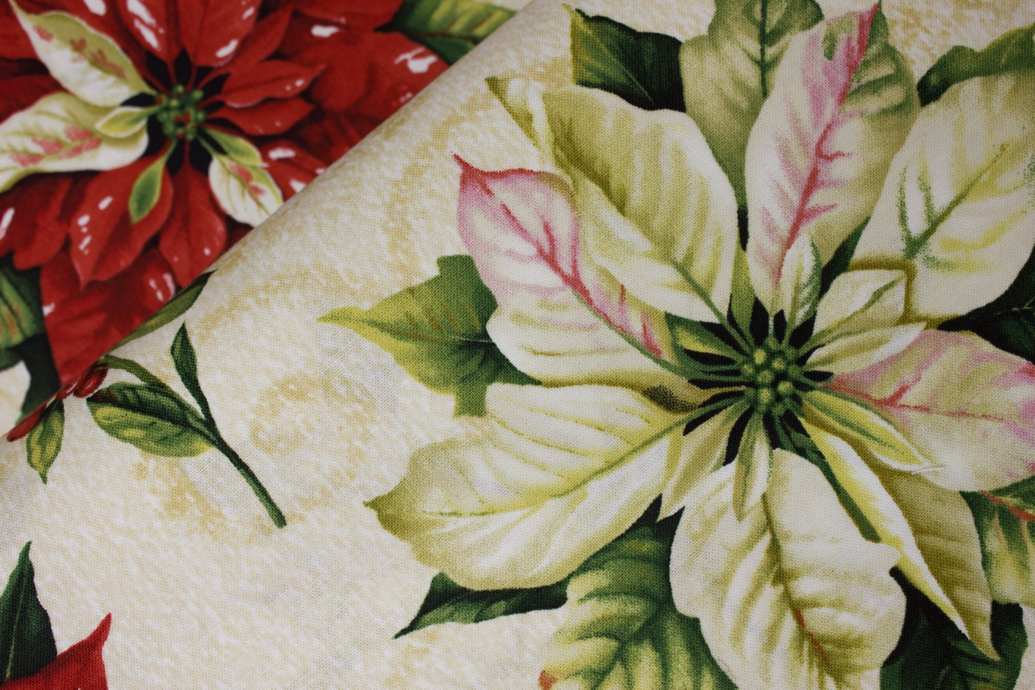 Large Red and White Poinsettias on Cream:  Tis the Season by Wilmington Prints, 57-58 wide