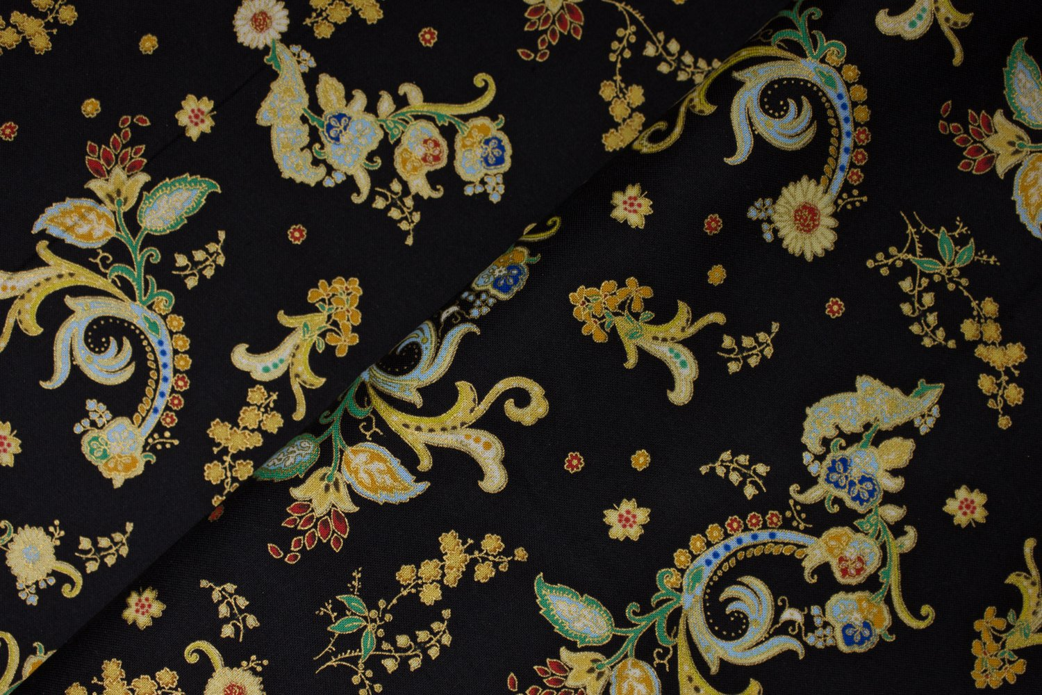 Floral Flourishes with Gold Metallic on Black:  Antonella by Hoffman
