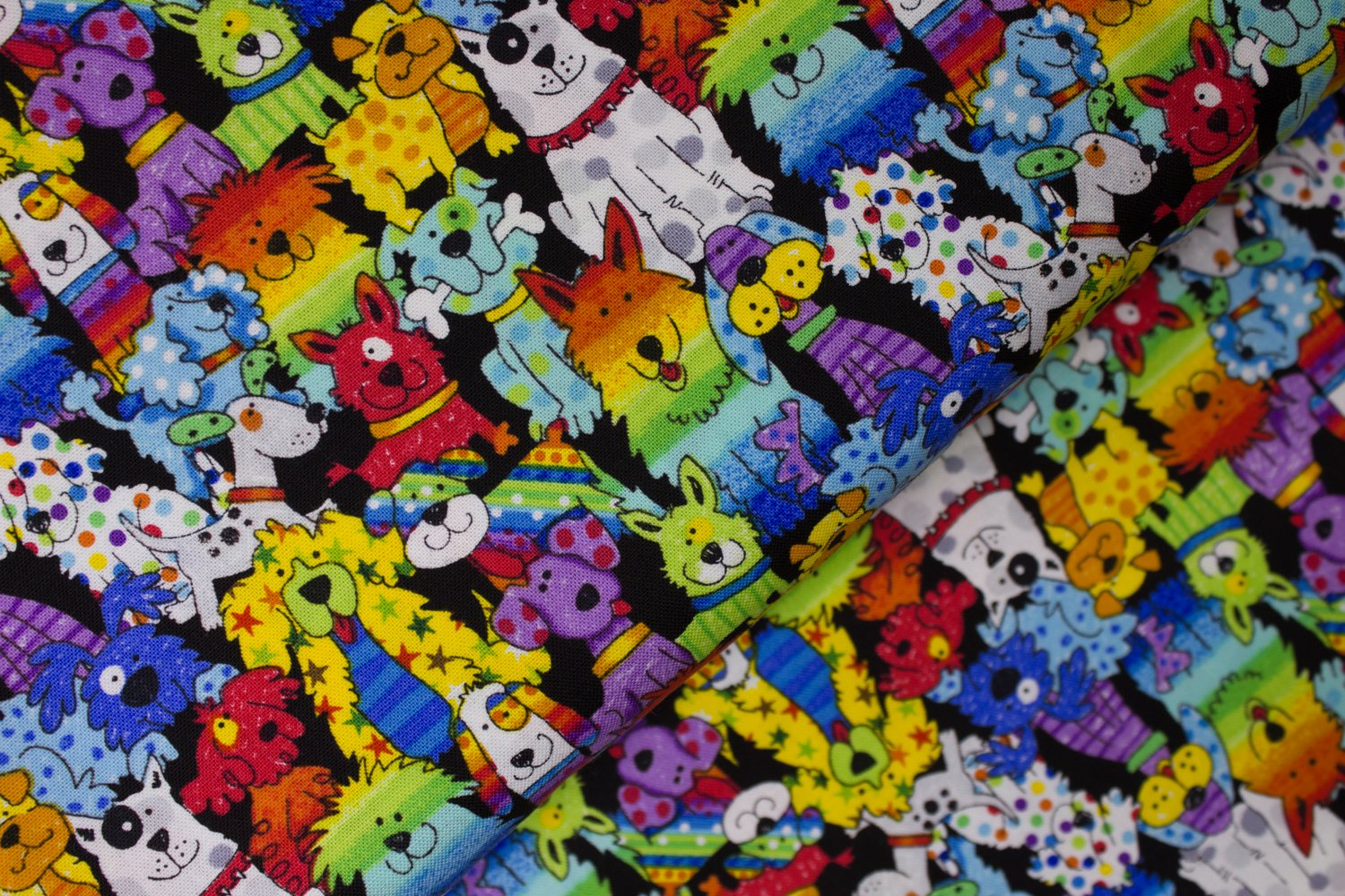 Patterned Rainbow Dogs by Hi-Fashion Fabrics