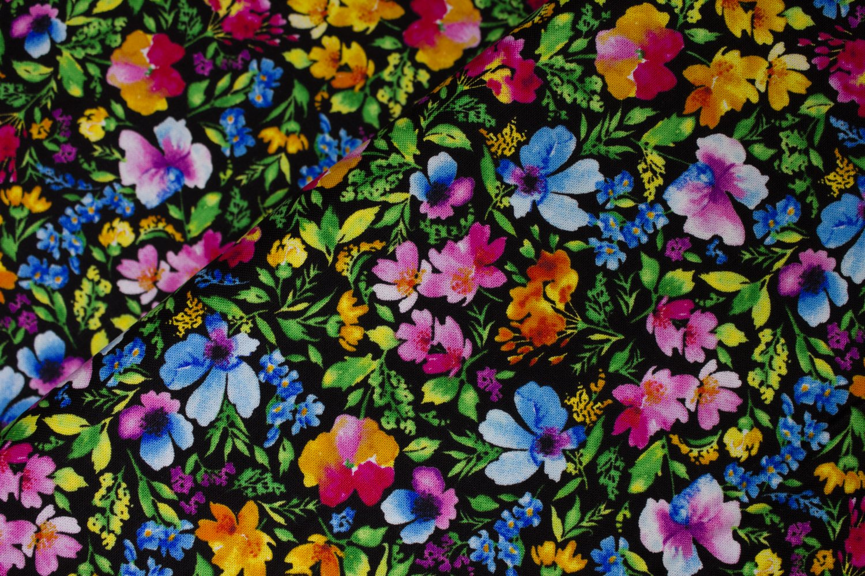 Rainbow Flower Garden on Black by Hi-Fashion Fabrics
