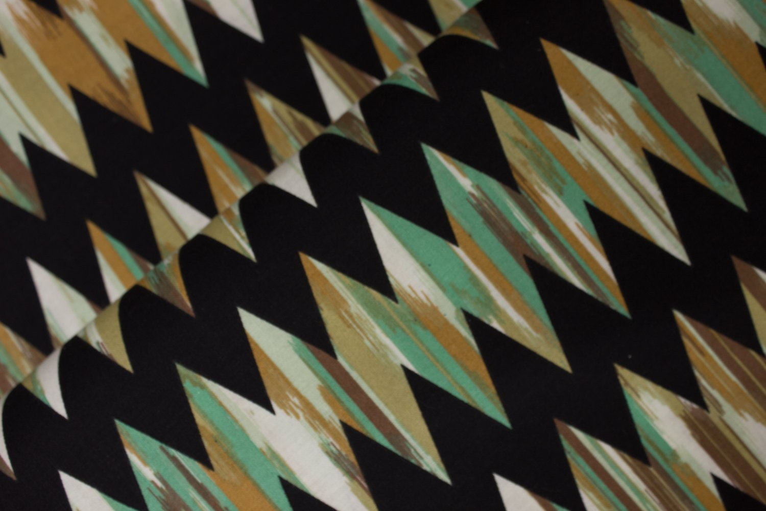 Brown and Green Chevrons on Black