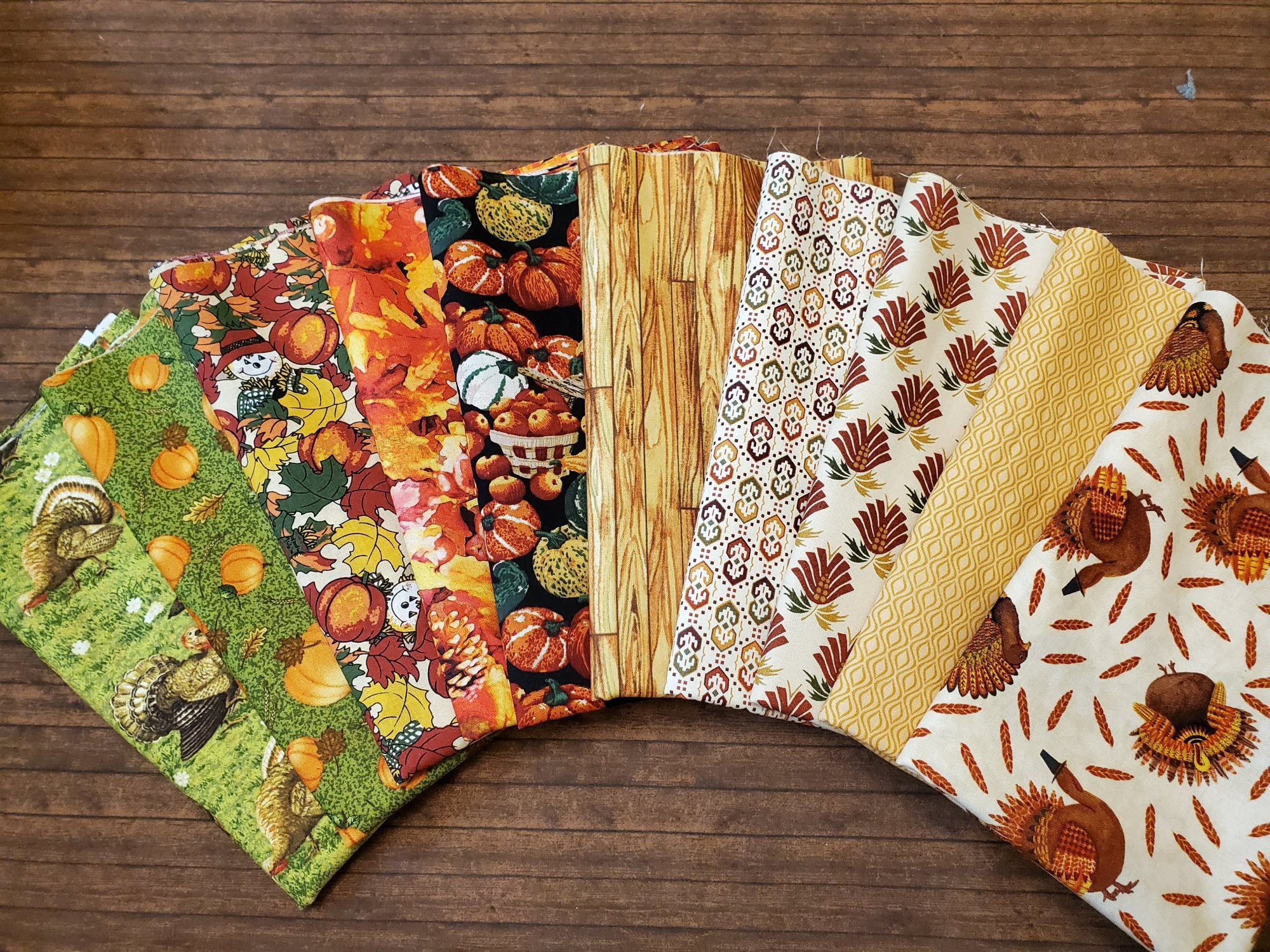 Mixed Turkeys and More - by Paintbrush Studios and more -10 Piece Half Yard Bundle Pack