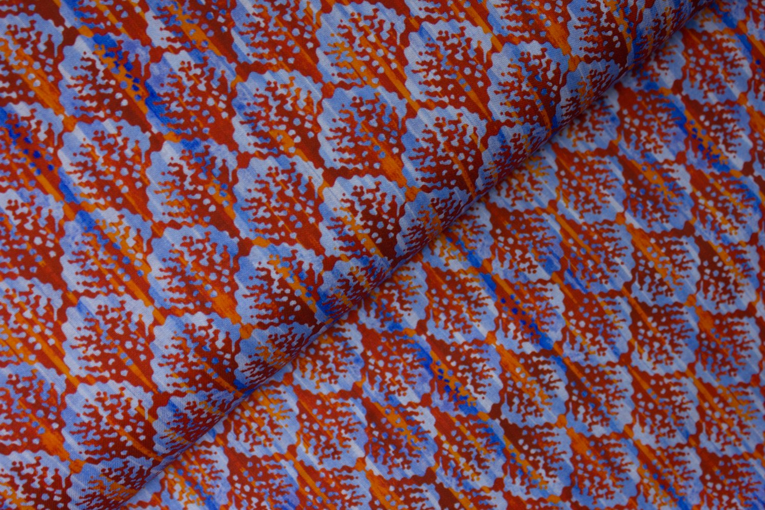 SPECIALTY FABRICS ROOM:  Red Coral on Blue:  Calypso by Jason Yenter for In the Beginning Fabrics