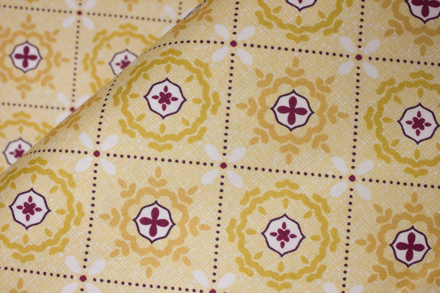 Mosaic in Shallows Yellow:  Mabon by Shelley Cavanna for Contempo Studio in association with Benartex