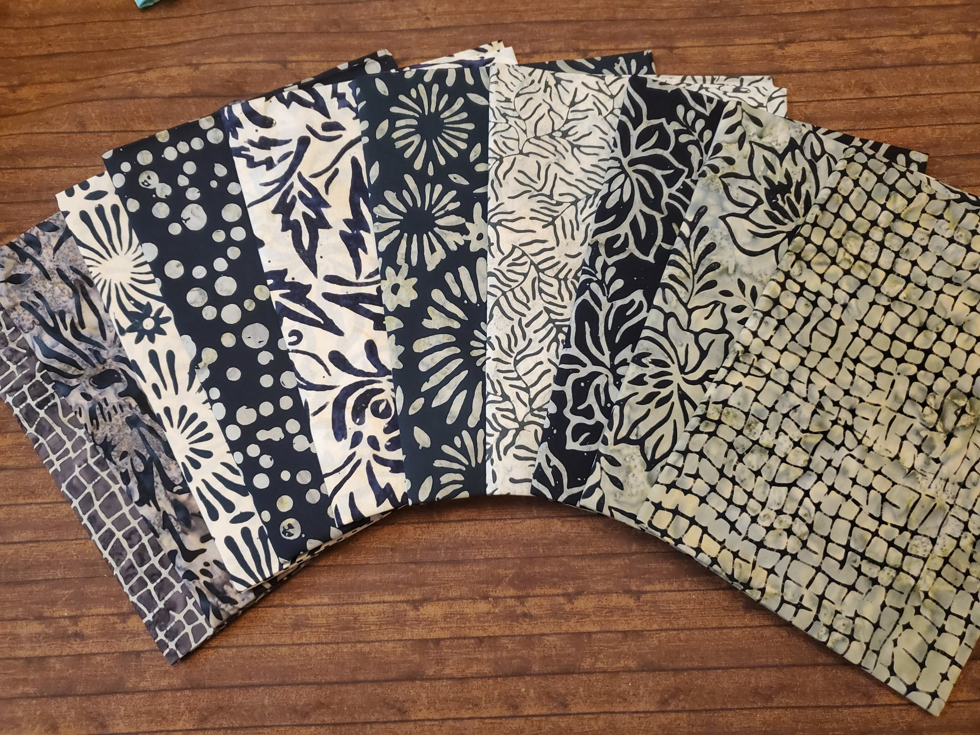 Gray and Greenish-Greige Batiks - 10 Piece Half Yard Bundle Pack