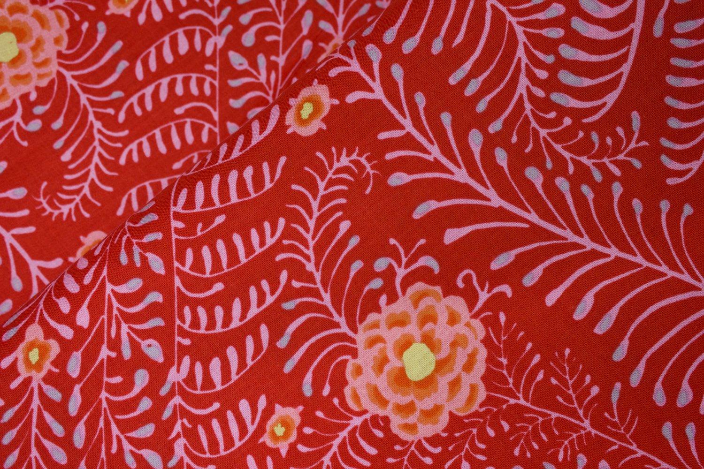 Pink Ferns on Red - Kaffe Fassett Collective by FreeSpirit Fabrics