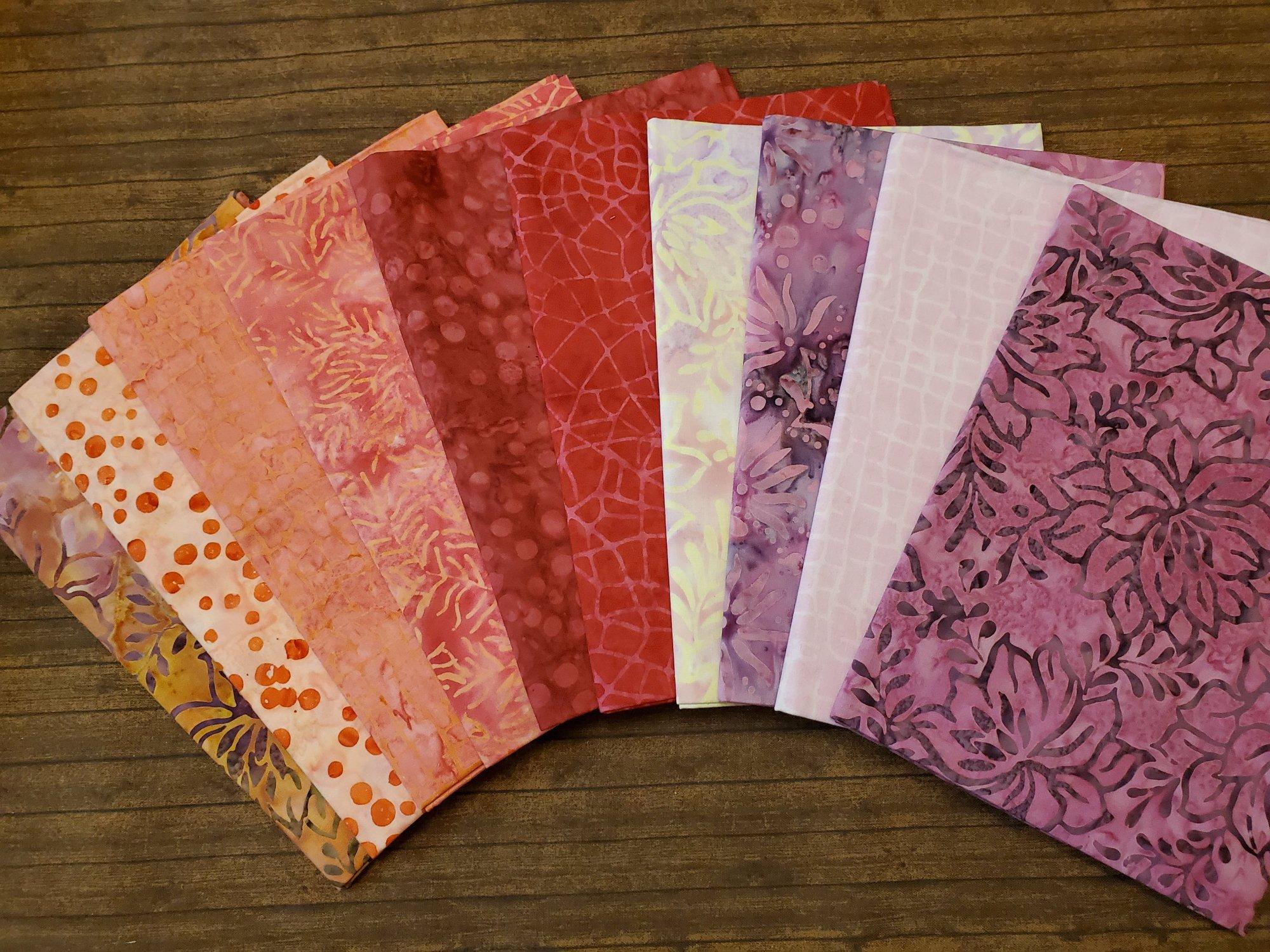 Pink Plus More Batiks - 10 Piece Half Yard Bundle Pack