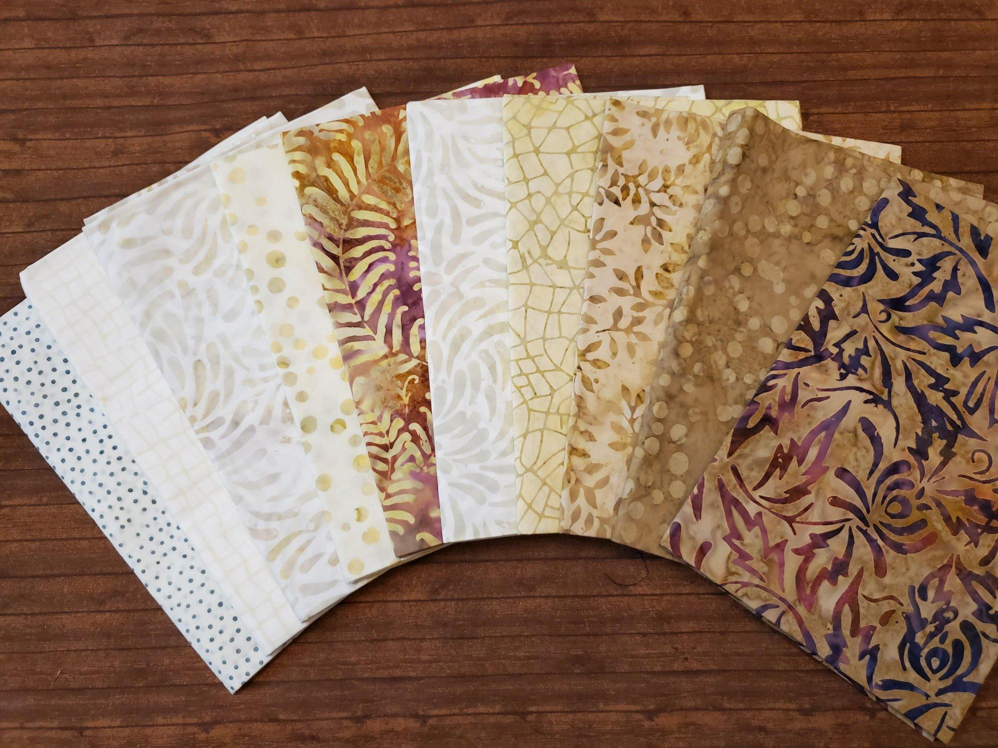 Beige to Brown Batiks - 10 Piece Half Yard Bundle Pack