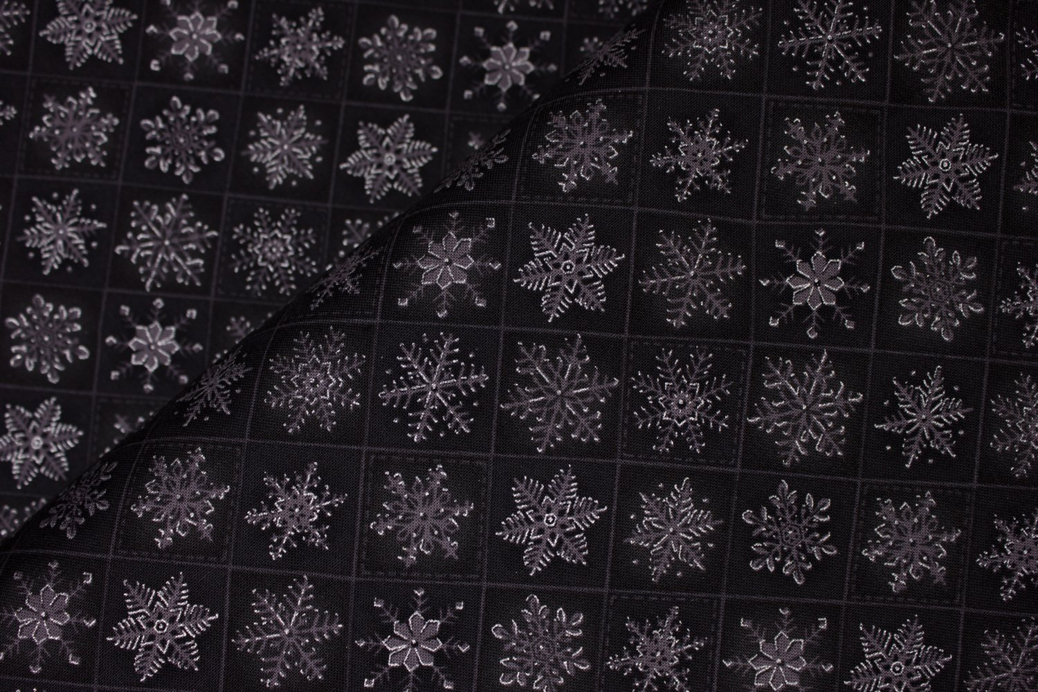 Gray with Silver Metallic Accent Snowflakes on Black: The Gallery by Choice Fabrics