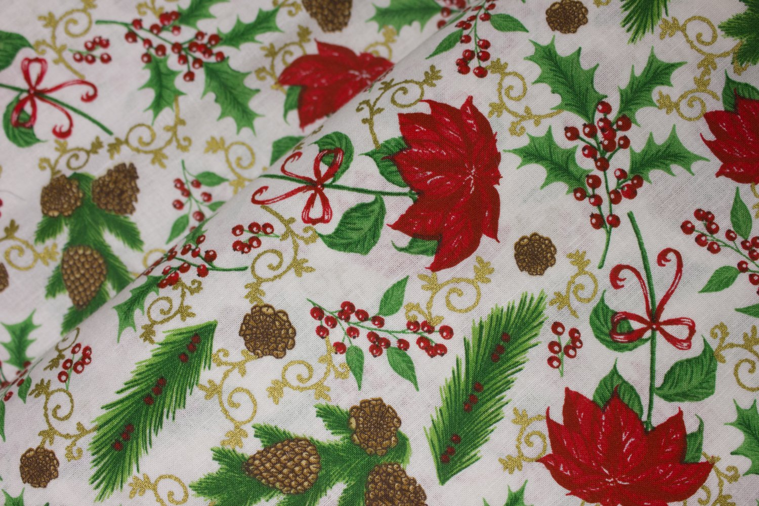Red Poinsettias, Pinecones, and Holly with Gold Metallic Accents