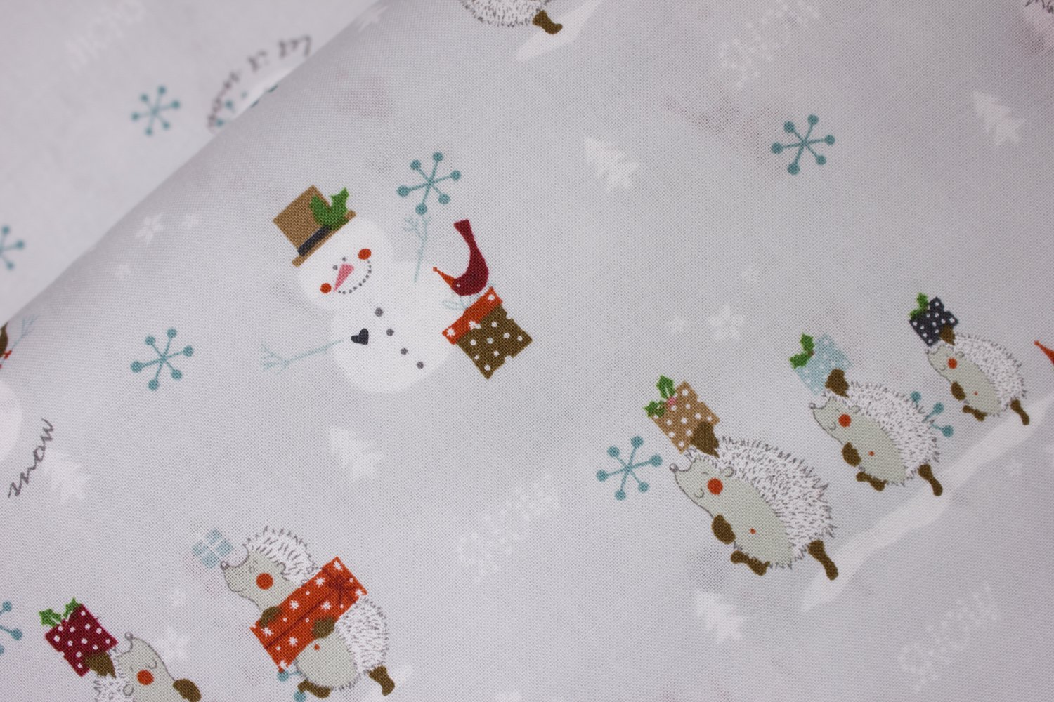 Snowmen and Hedgehogs on Light Gray:  You Make Me Happy by Stof Fabrics for Blank Quilting