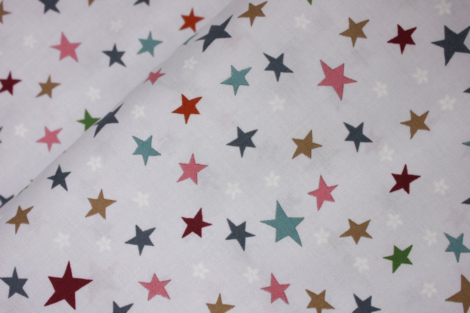 Teal, Green, Pink, Red, and Gold Stars on Light Gray:  You Make Me Happy by Stof Fabrics for Blank Quilting