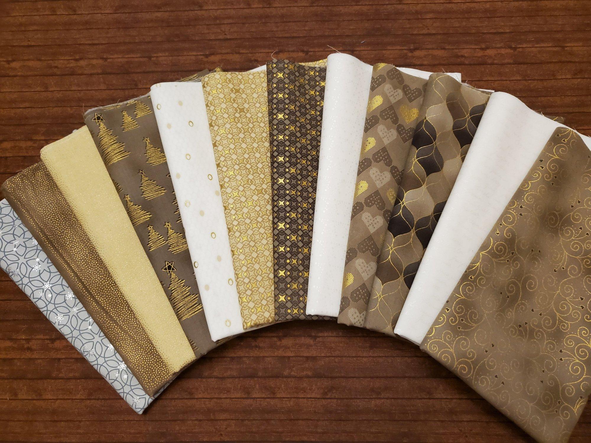 Christmas Wonders - Metallic Christmas  in Taupe and Gray - by Stof Fabrics - 12 piece half yard bundle pack