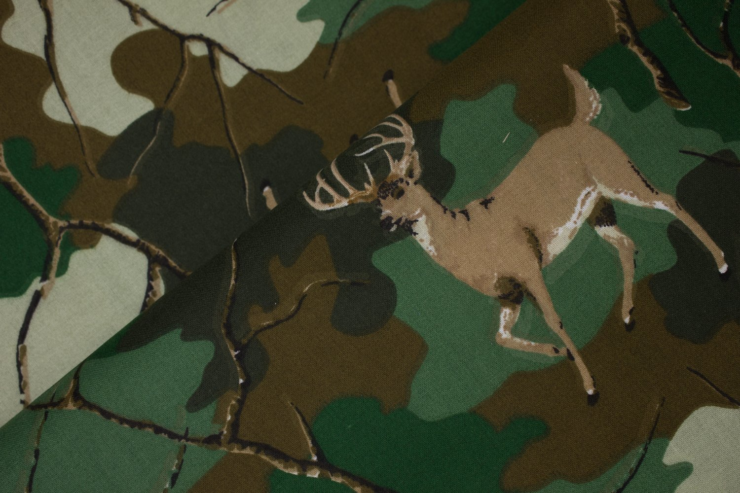Deer on Camo with Random Branches