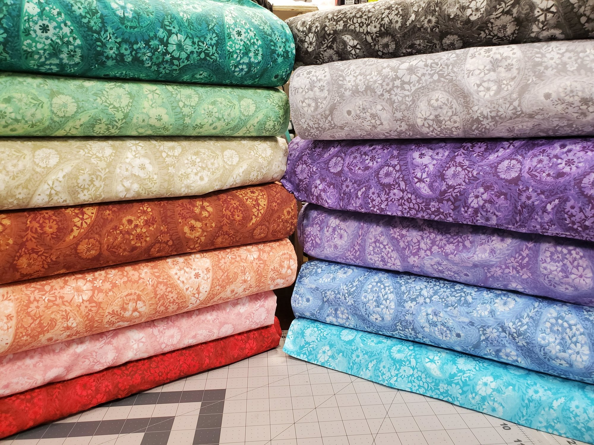 All Varieties of 108 Wide Tonal Floral Paisley Backing