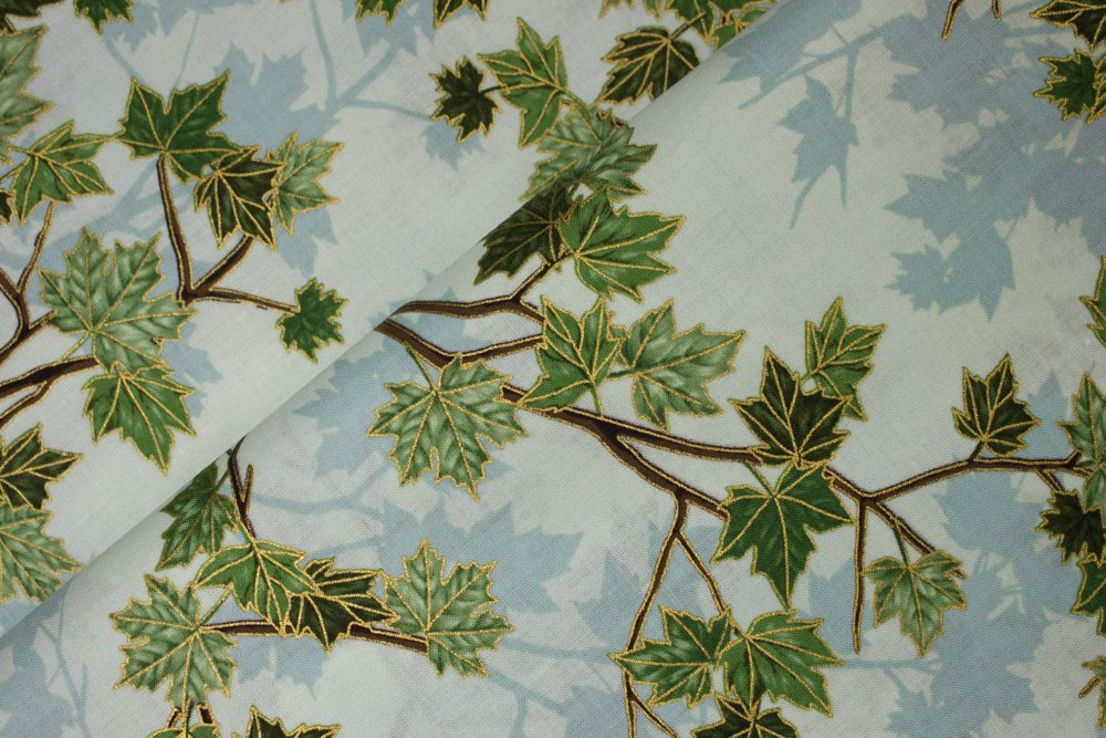 Green Leaves with Metallic Accents on Light Green:  Treeline Drive by Hoffman California International