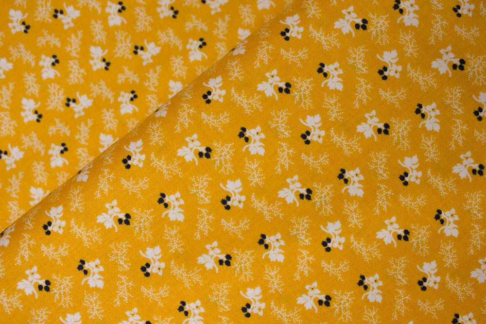 White and Black Flowers on Cheddar Yellow:  Cheddar and Indigo by Penny Rose Fabrics