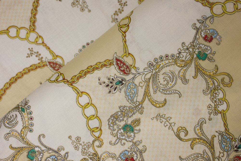 Metallic Vintage Gold Florals with Chains:  Antonella by Hoffman