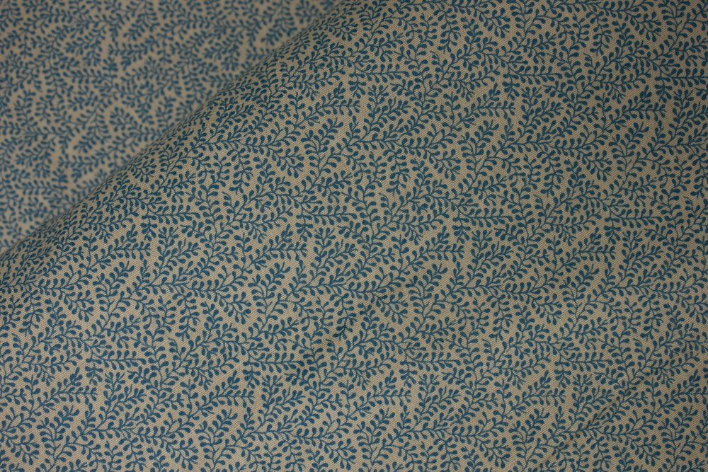Small Blue Vines on Tan by Peter Pan Fabrics: Original vintage fabric from the 1970s and 1980s.