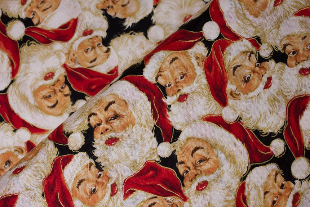 Packed Santa Heads on Black:  Holly Jolly Santa by Laurie Cook for VIP by Cranston