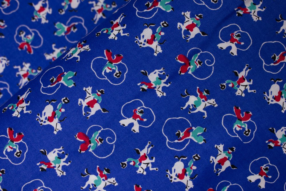 Lasso Cowboys with Red Chaps on Royal Blue by Concord Fabrics
