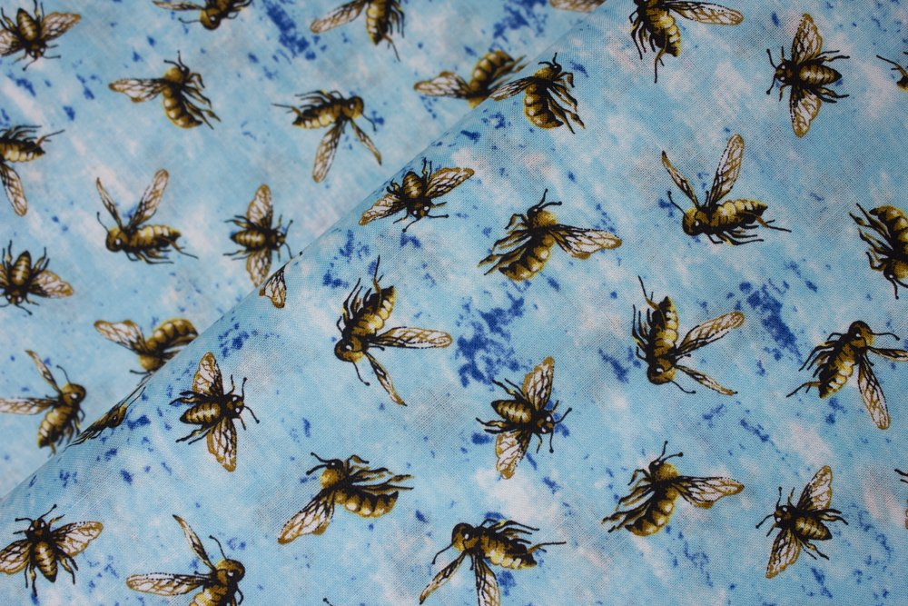 Flying Bees on Aqua Blue:  Creature Comforts - Busy Bees by Concord House