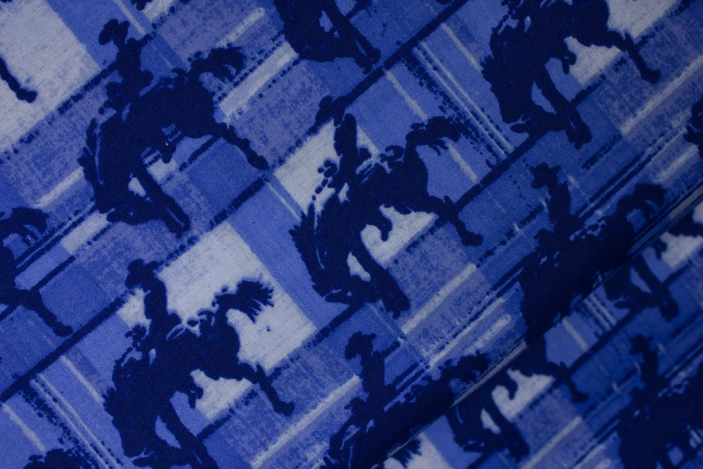 Bronco Riders on Tonal Blue Blocks by RosieDi - Lightweavers for Concord House