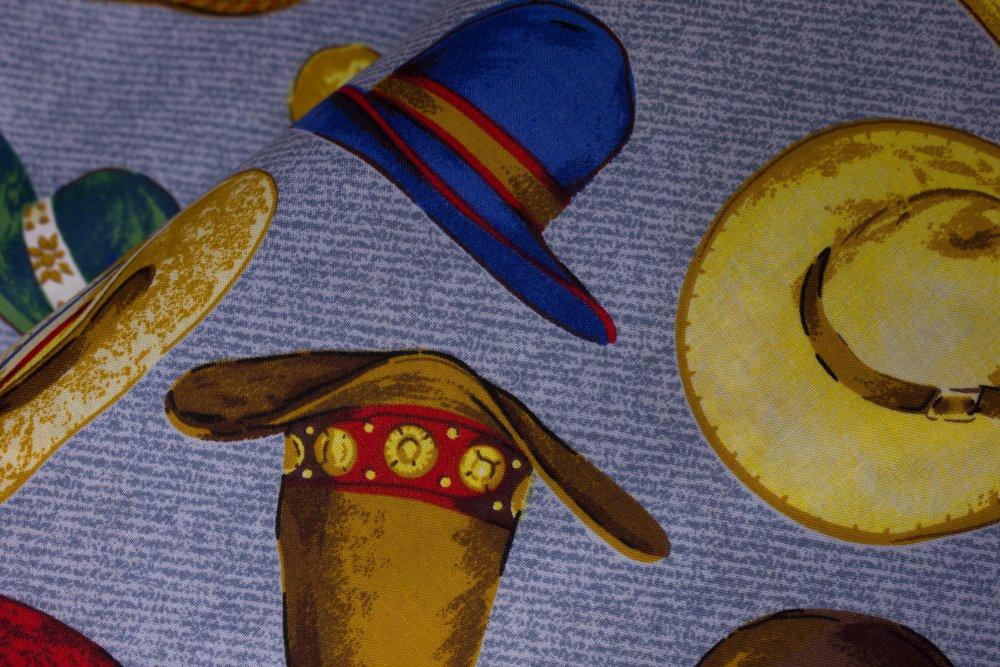 Cowboy Hats on Denim Blue:  Tex Mex Hats by Concord House